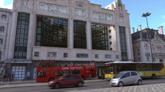Lisbon Eden Teatro, traffic and tour bus, Portugal Stock Footage