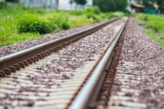 detail shot of a railroad track - stock photo