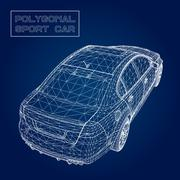 Abstract Creative concept vector background of 3d car model. Sports car - stock illustration