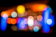 Defocused entertainment concert lighting on stage, blurred disco party., blur - stock photo