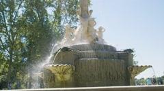 Fuente de los Galápagos Fountain in SLOW MOTION. Madrid, Spain - HD 1080 Stock Footage