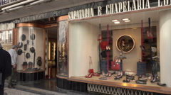 Lisbon, Sapataria e Chapelaria Lord hat and shoe shop, Portugal - stock footage