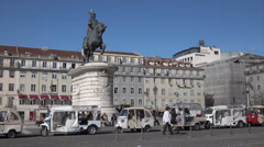 Lisbon, Tuk Tuks taxis in Figueira Square, Portugal Stock Footage