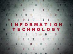 Data concept: Information Technology on Digital Data Paper background - stock illustration