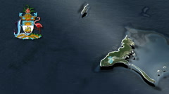 Crooked Island With Coat Of Arms Animation Map Stock Footage