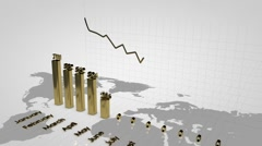 Decreasing charts. Financial diagrams showing a decreasing tendency. Stock Footage