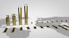 Gold Graph growing. Diagram. charts - stock footage
