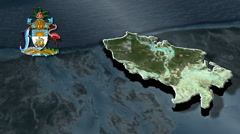Mangrove Cay With Coat Of Arms Animation Map - stock footage