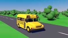 Back To School. School bus goes to school. - stock footage