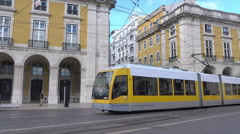Lisbon tram on Augusta road, Commercial Square, Portugal Stock Footage