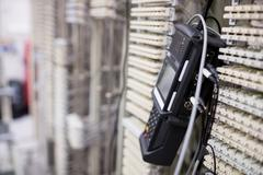 Close-Up of digital cable analyzer on rack mounted server Stock Photos