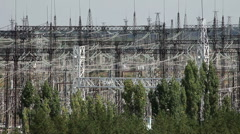 Electric power station. Power lines. - stock footage