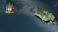 South Andros With Coat Of Arms Animation Map Stock Footage