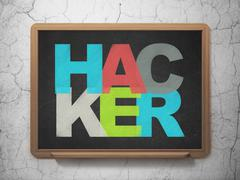 Protection concept: Hacker on School board background - stock illustration