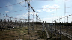 Electric power station. Power lines. Stock Footage
