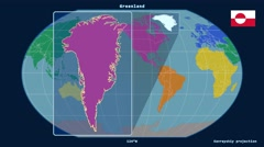 Greenland - 3D tube zoom (Kavrayskiy VII projection). Continents - stock footage