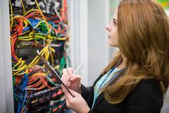 Technician preparing check list Stock Photos