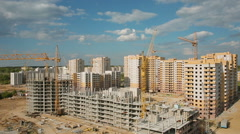 Construction of apartment houses in the city Stock Footage