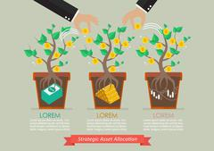 Strategic asset allocation infographic Stock Illustration