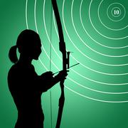 Rear view of sportswoman practising archery  against green vignette - stock illustration