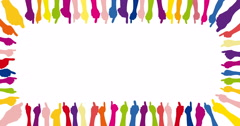 Background with different colorful thumbs up (4k) Stock Footage