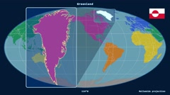 Greenland - 3D tube zoom (Mollweide projection). Continents - stock footage
