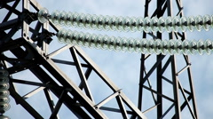 Power plant. Power transmission line. Close-up shot of electric line. - stock footage