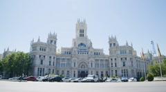 The Cybele Palace (Palacio de Cibeles). Slow Motion. Madrid, Spain - HD 1080 Stock Footage