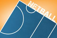Netball message on a white background against orange vignette - stock illustration