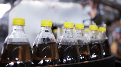 Production line of mineral water and carbonated drinks. Plastic packaging. Stock Footage