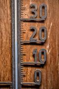 Vintage thermometer celsius 20 degrees blue level detail close up mercury - stock photo