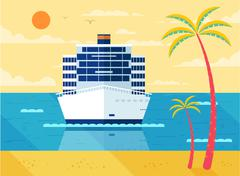 illustration of cruise ship in sea, front view, near beach, palm trees - stock illustration