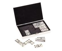 Domino tiles and open metal case isolated on white Stock Photos