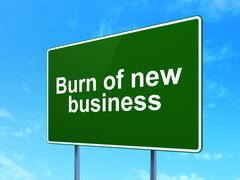 Finance concept: Burn Of new Business on road sign background - stock illustration