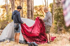 Two men concentrating on putting up tent in forest, Deer Park, Cape Town, South Stock Photos