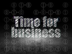 Finance concept: Time for Business in grunge dark room Stock Illustration