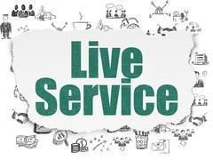 Finance concept: Live Service on Torn Paper background - stock illustration