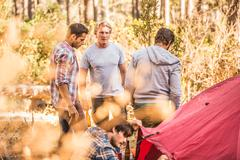 Four men camping together in forest, Deer Park, Cape Town, South Africa Stock Photos