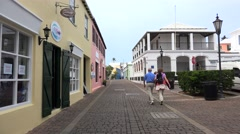Tourists at the historical part of the St. George's Town, Bermuda. Stock Footage