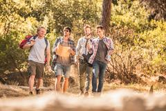 Four male hikers with map on forest hike, Deer Park, Cape Town, South Africa Stock Photos