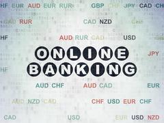 Finance concept: Online Banking on Digital Data Paper background - stock illustration