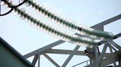 Power plant. Power transmission line. Close-up shot of electric line. Stock Footage
