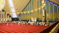 Main hall of Faisal Mosque. Stock Footage