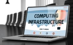 Computing Infrastructure on Laptop in Conference Room Stock Illustration