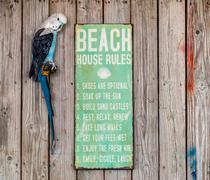Humorous tourist notice board at beach, Dominican Republic, The Caribbean Stock Photos