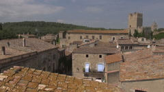 Aerial Peratallada tower traveling sunny - stock footage