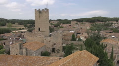 Aerial Peratallada tower traveling cloudy - stock footage