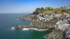 Daepo Jusangjeolli Cliff timelapse, Jeju Island, South Korea, 4K Time lapse Stock Footage