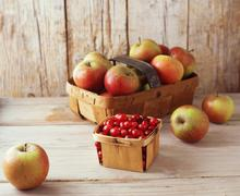 Basket of apples with punnet of cranberries Stock Photos