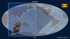 Grenada - 3D tube zoom (Mollweide projection) Stock Footage